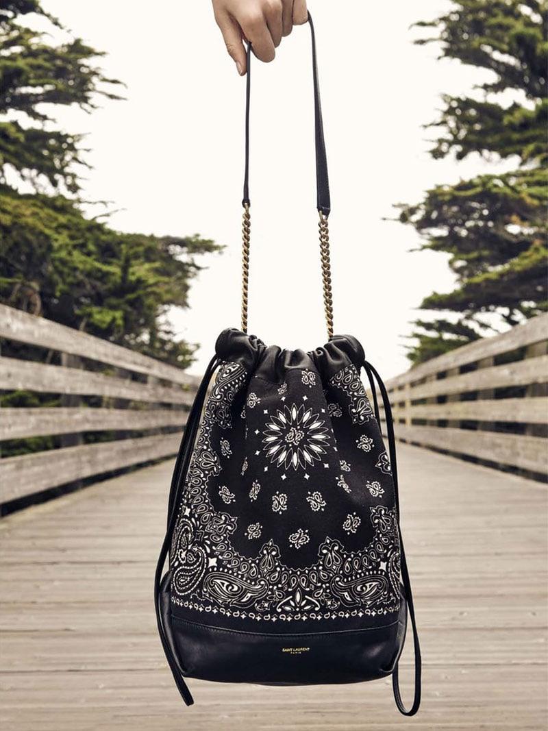 Saint Laurent Teddy Bandana-Print Bucket Bag