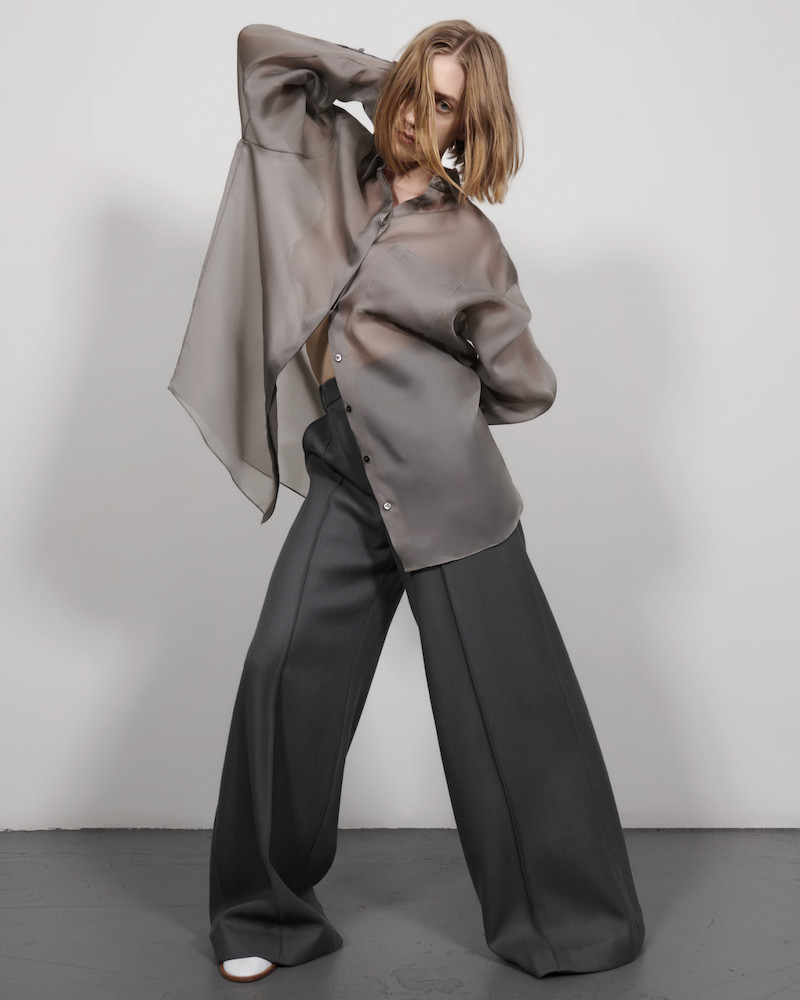 The Row Grey Silk Organza Claire Shirt