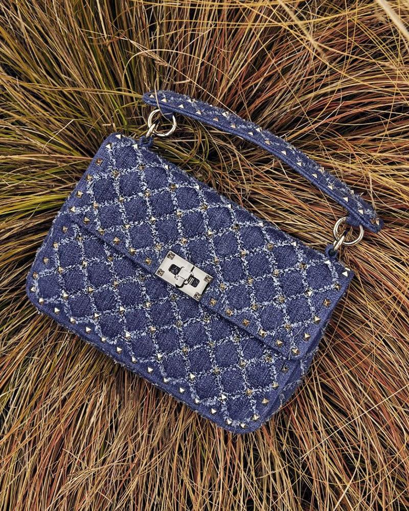 Valentino Garavani Medium Rockstud Spike Denim Shoulder Bag