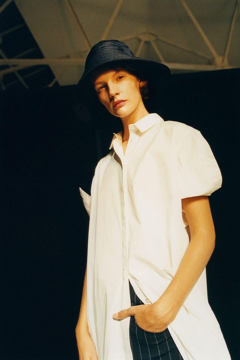 White Story Antonia Tie-Waist Pleated Cotton Dress