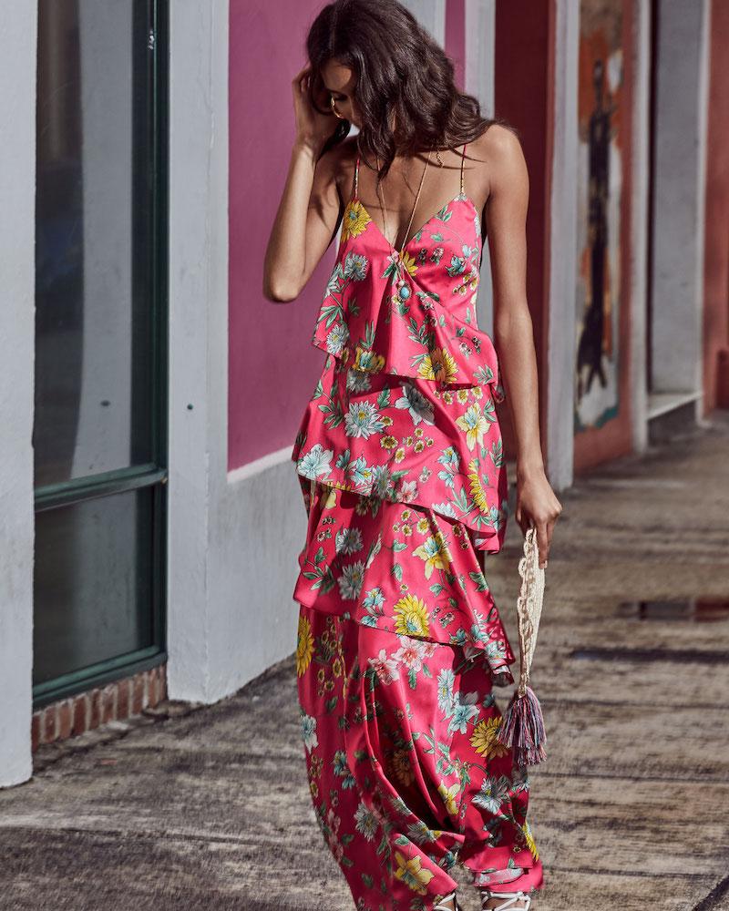 Aidan by Aidan Mattox Tiered Floral-Print Ruffle Open-Back Maxi Dress
