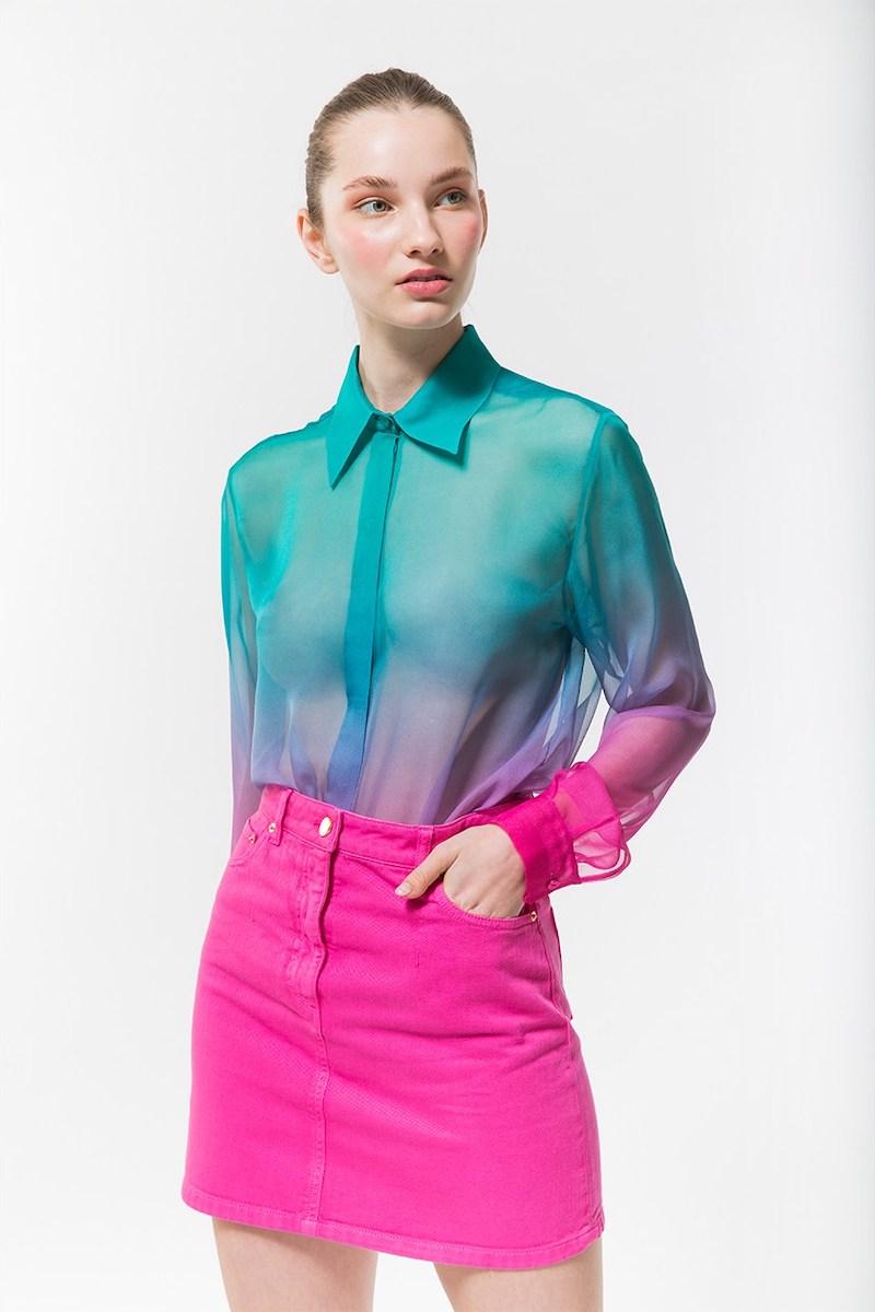 Alberta Ferretti Cotton Denim Mini Skirt in Fuchsia