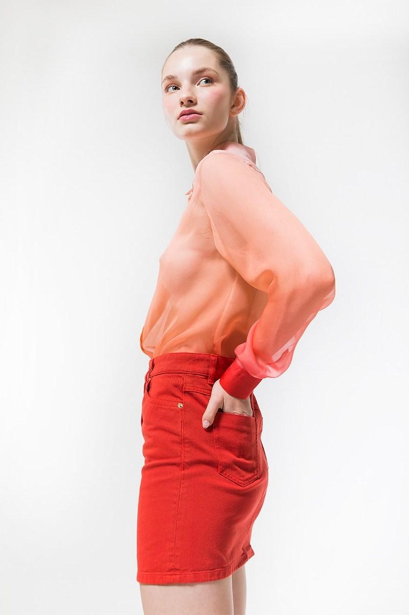 Alberta Ferretti Cotton Denim Mini Skirt in Red