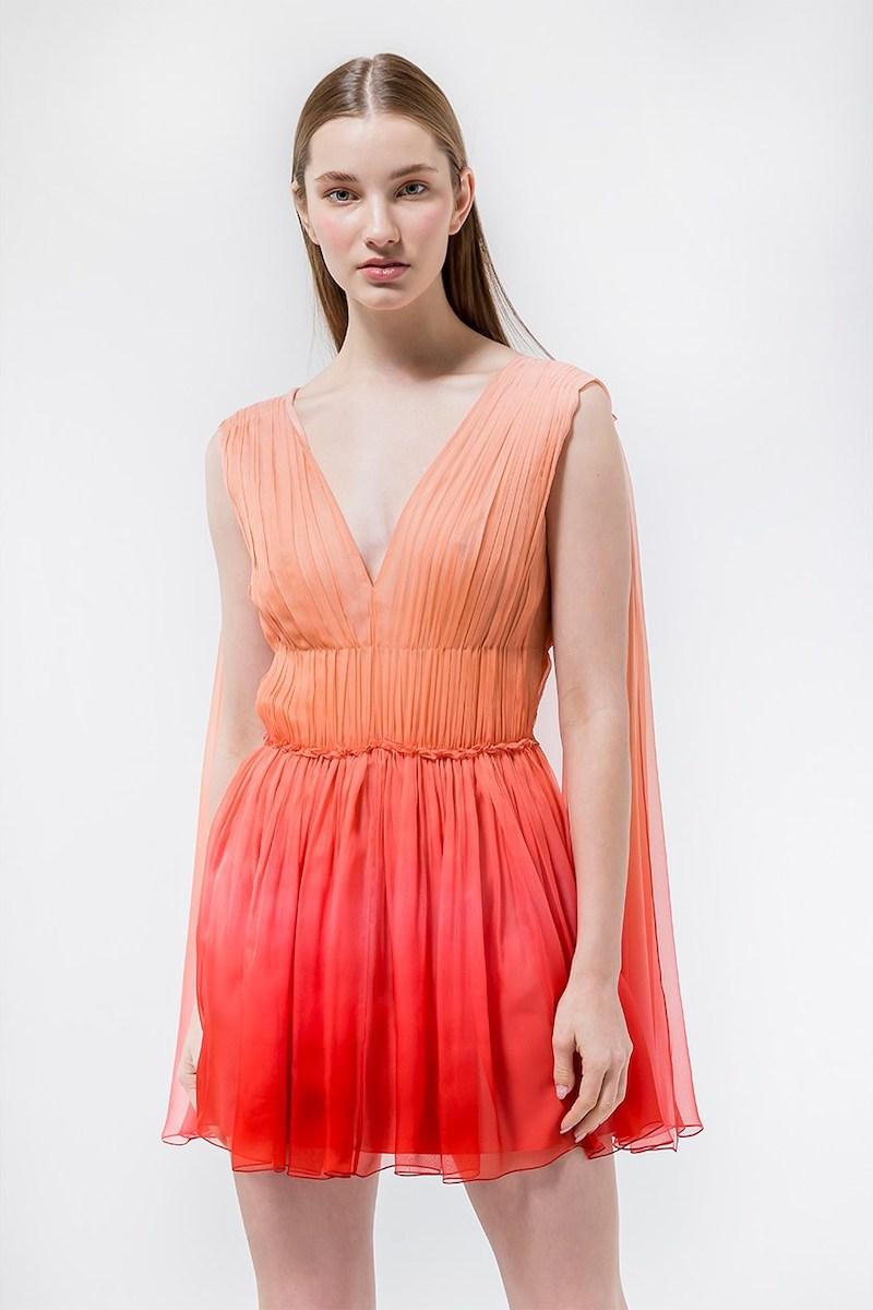 Alberta Ferretti Degradè Chiffon Mini Dress W/ Cape in Pink