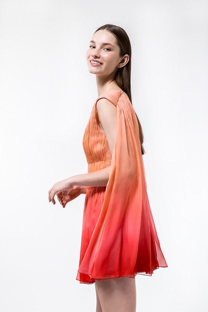 Alberta Ferretti Degradè Chiffon Mini Dress W/ Cape in Pink 1