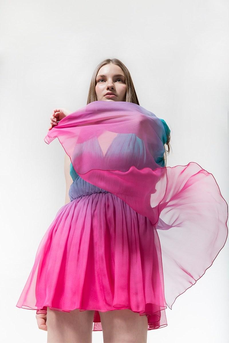 Alberta Ferretti Degradè Chiffon Mini Dress W/ Cape