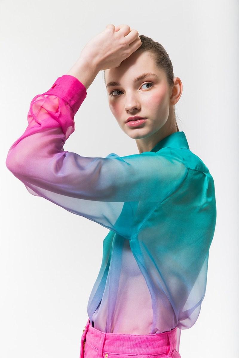 Alberta Ferretti Degradè Sheer Silk Crepe Shirt in Mint
