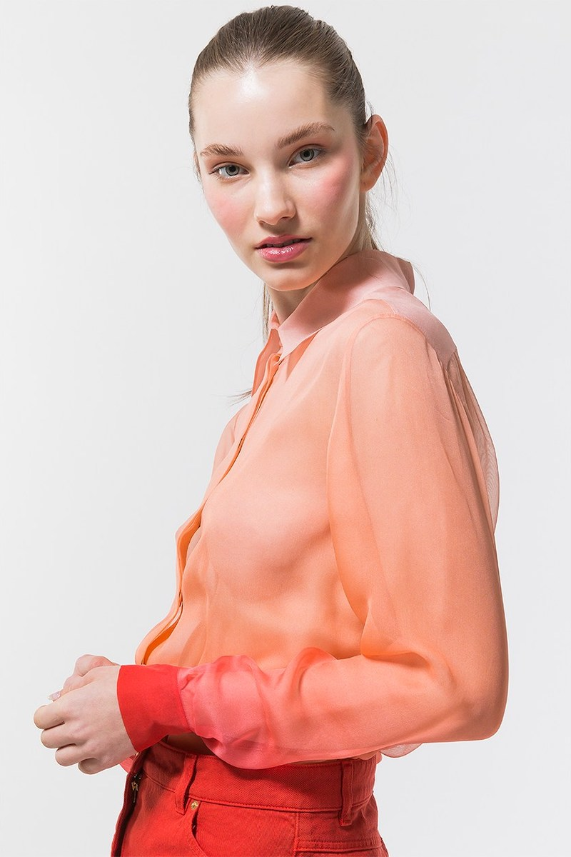 Alberta Ferretti Degradè Sheer Silk Crepe Shirt in Pink