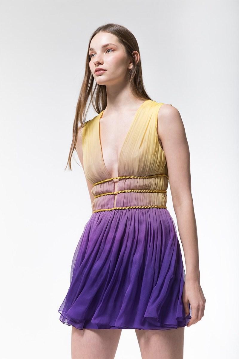 Alberta Ferretti Degradè Silk Chiffon Mini Dress