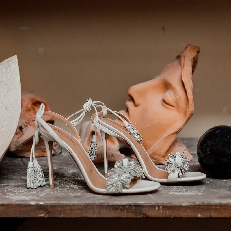 Aquazzura 105mm Wild Crystal Leather Sandals