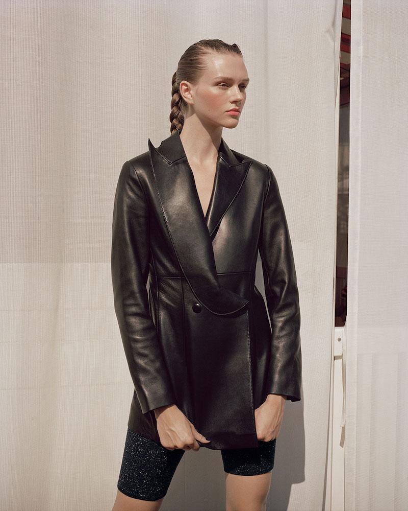 Area Crystal-Embellished Leather Blazer-Style Jacket