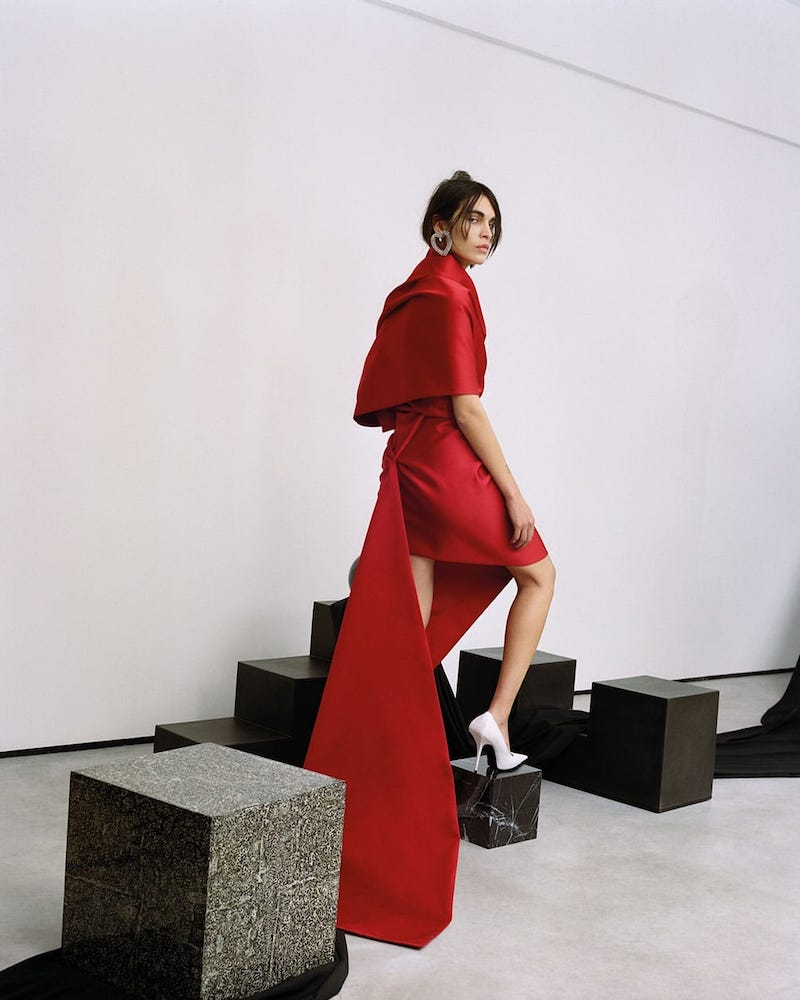 Balenciaga One-Shoulder Draped Satin Dress With Train