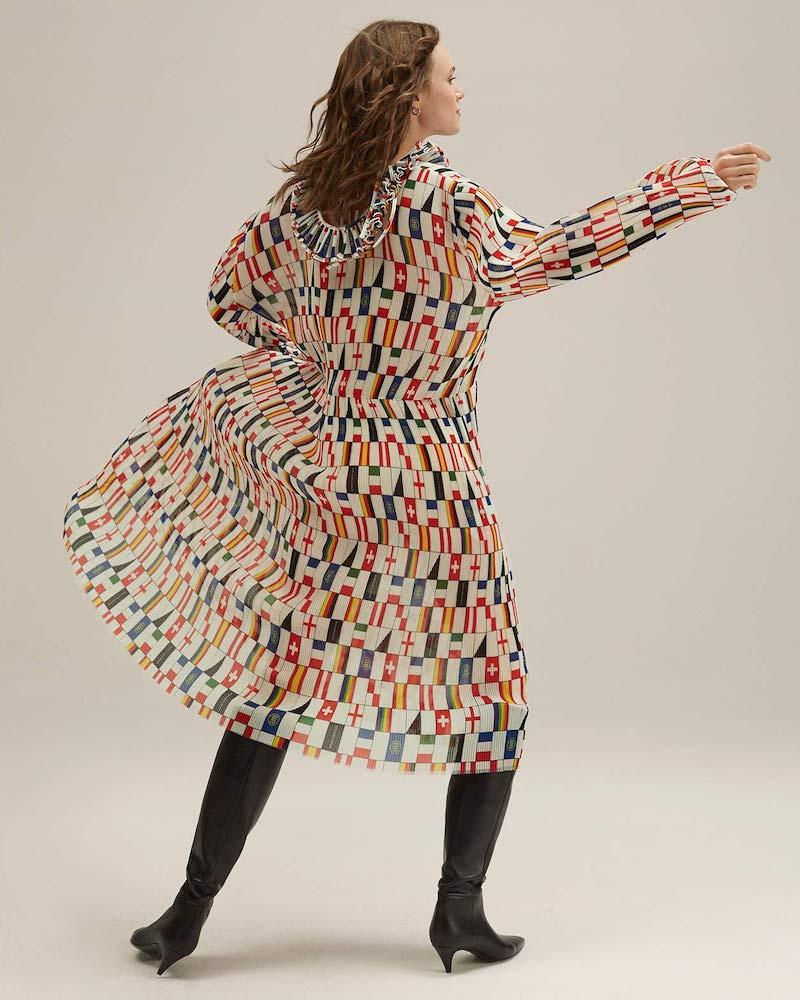 Balenciaga Ruffled Flag-Print Faille Dress