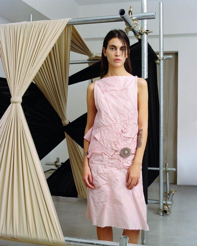 CALVIN KLEIN 205W39NYC Brooch Detail Crushed Silk-Taffeta Dress