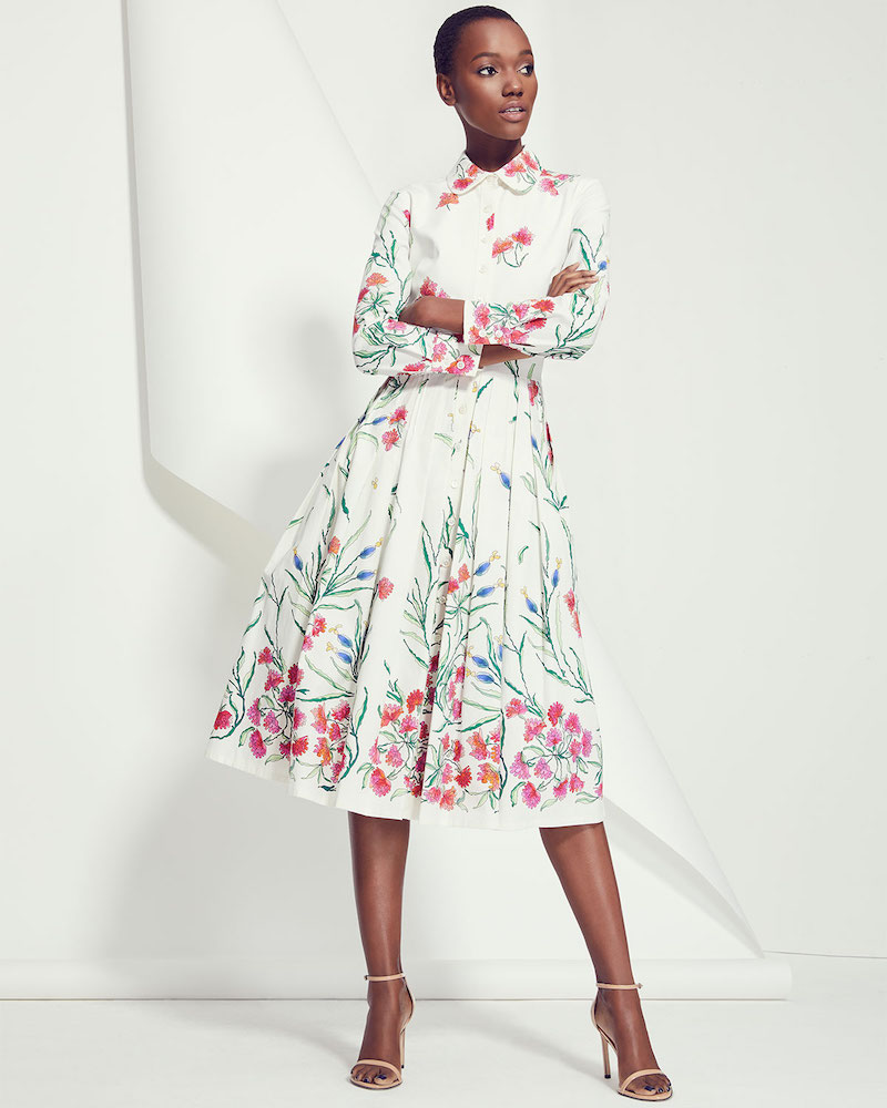 53799ccd78 Carolina Herrera Button-Front Long-Sleeve Floral-Print A-Line Shirtdress