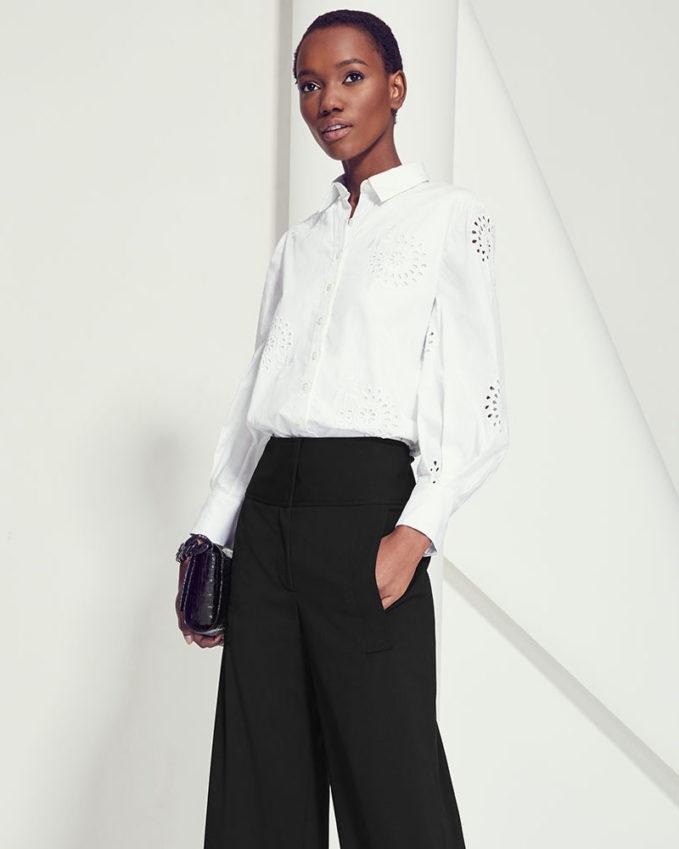 Carolina Herrera Eyelet Embroidered Poplin Button-Front Shirt