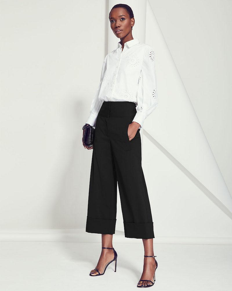 Carolina Herrera High-Rise Cropped Wide-Leg Pants