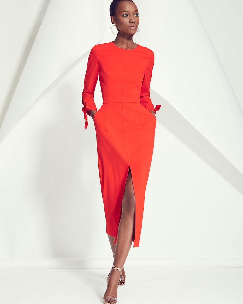 Carolina Herrera Knotted-Cuff Midi Sheath Dress