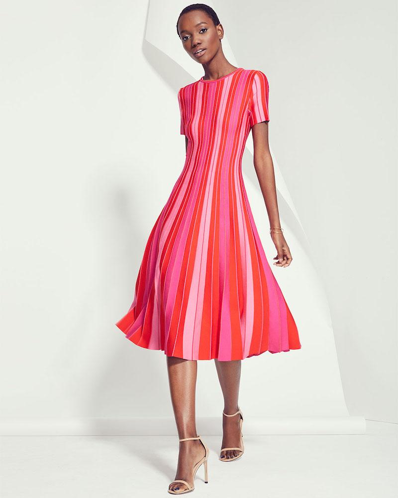 Carolina Herrera Short-Sleeve Striped Knit Pleated Dress