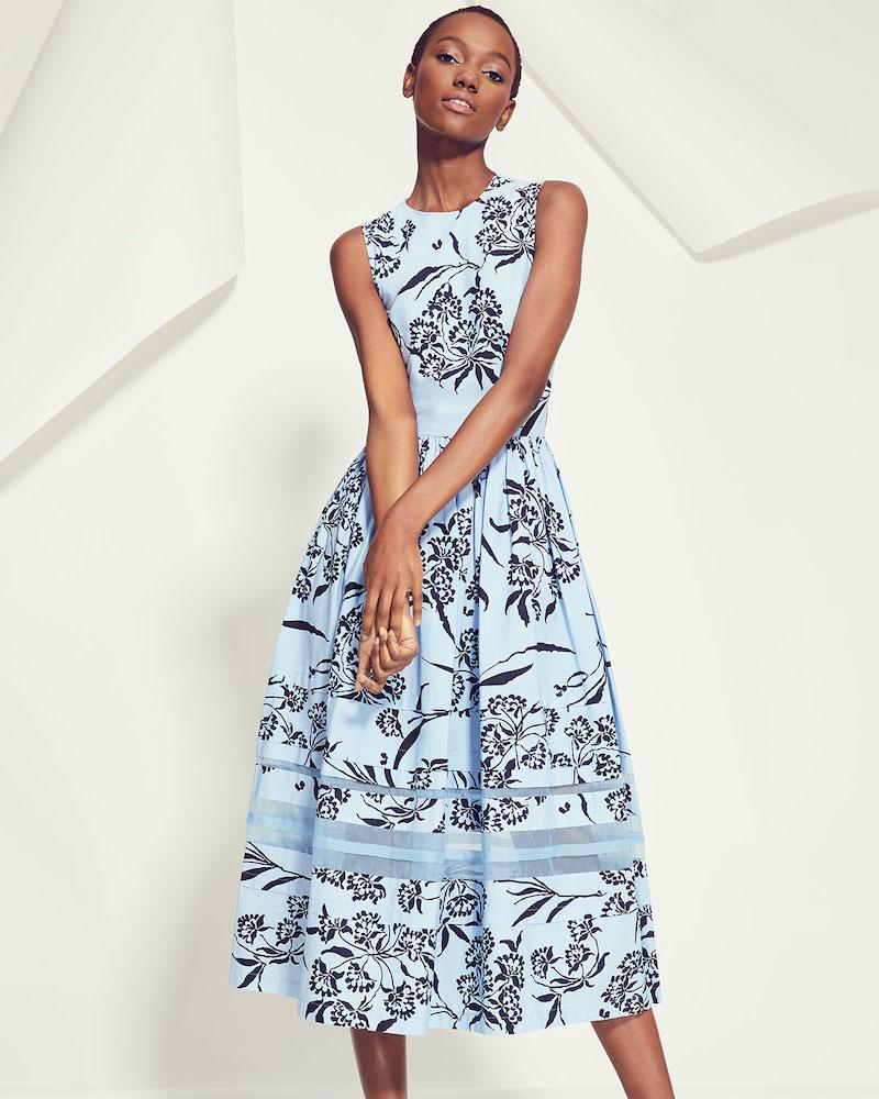 Carolina Herrera Sleeveless Floral-Print A-Line Tea-Length Dress W/ Stripe Detail