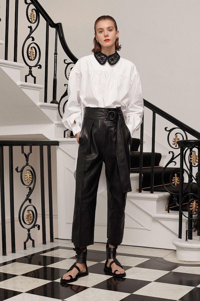 Christopher Kane Cotton Asymetric Hem Shirt Removable Lace