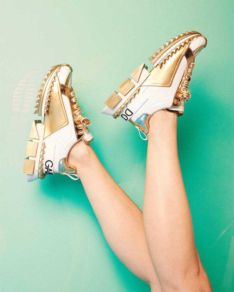Dolce & Gabbana Super Queen Metallic Trainer Sneakers
