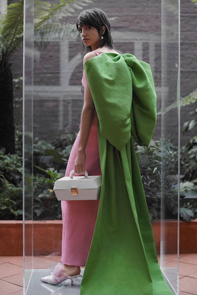 Emilia Wickstead Cruz Oversized Bow-Cape Cloque Column Gown