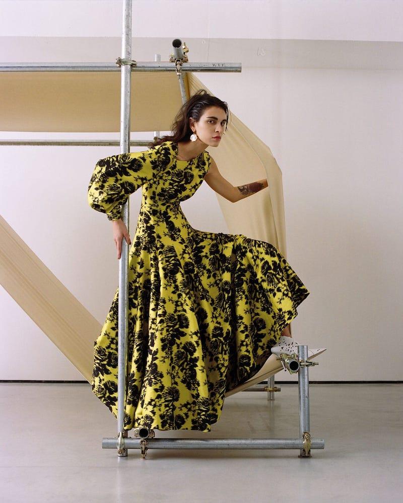 Erdem Rose-Jacquard Full-Skirt Gown