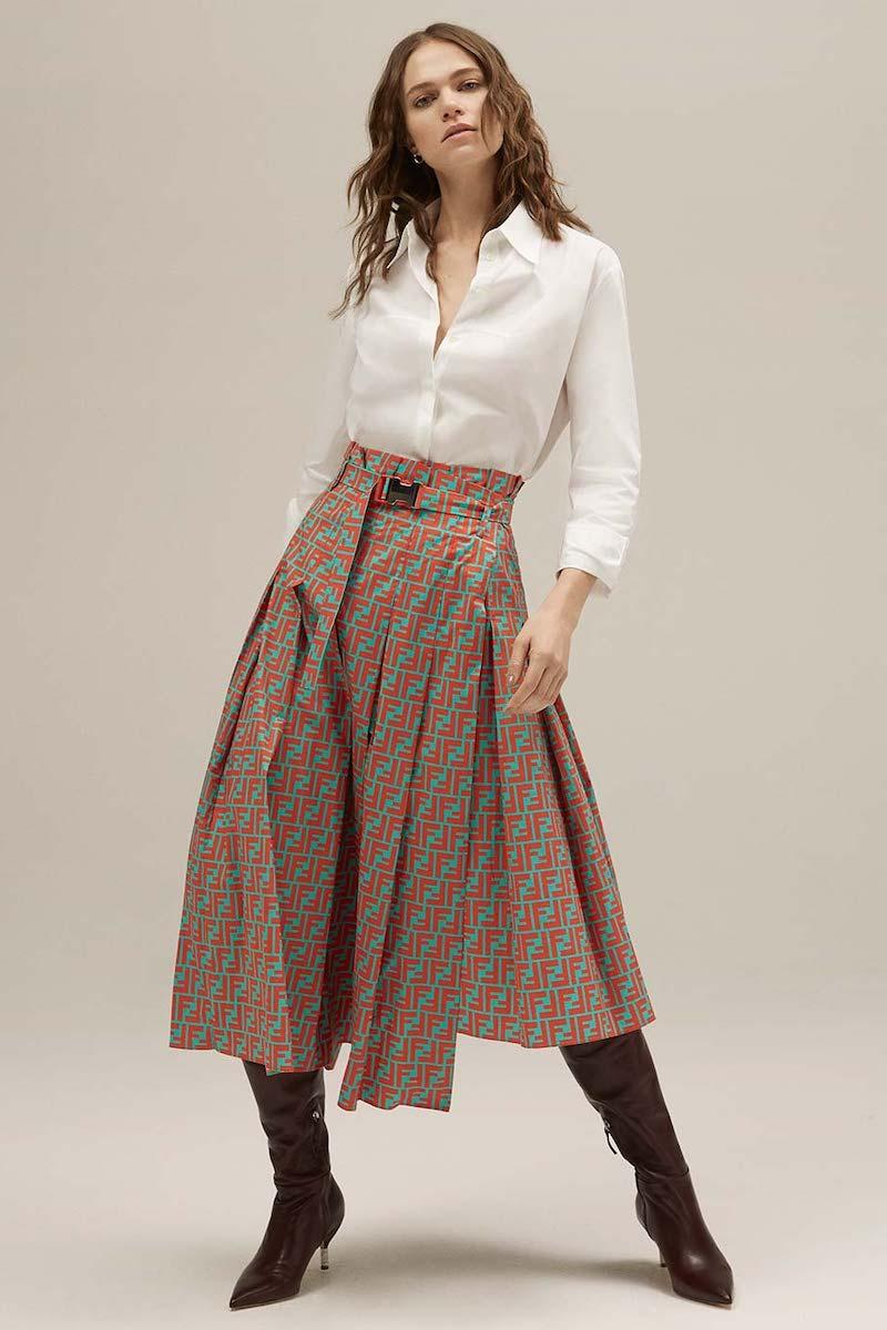 Fendi Logo-Print Assymetric Pleated Cotton Midi Skirt