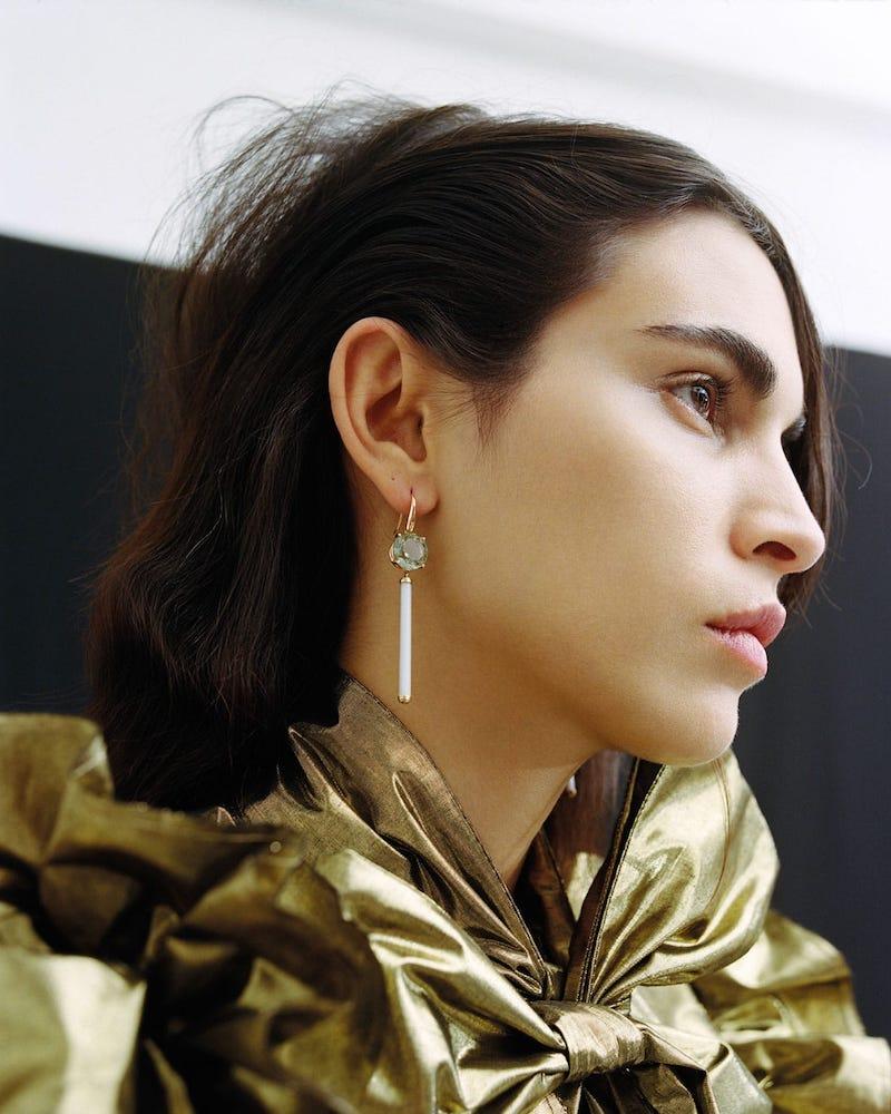 Francesca Villa Prasiolite, Venetian Bugle and Rose-Gold Earrings