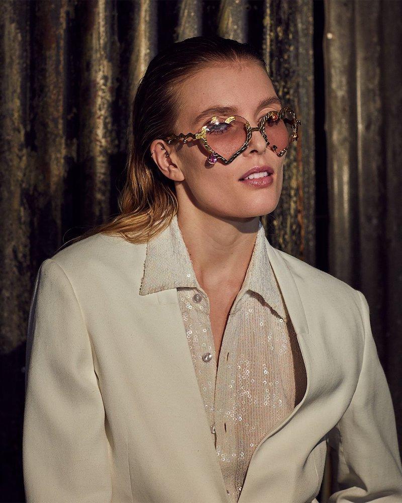 Francis De Lara My Bleeding Heart Garnet & Gold-Plated Glasses
