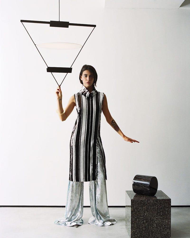 Halpern Sequinned High-Neck Midi Dress