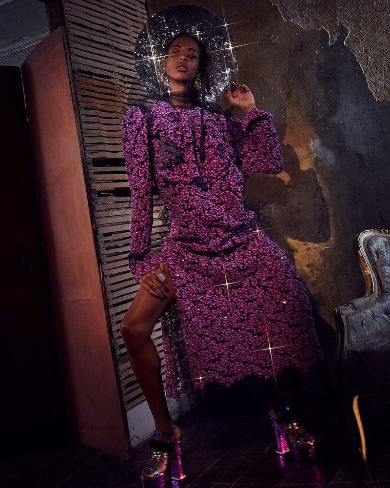 Harris Reed Sequin and Mesh Midi Dress