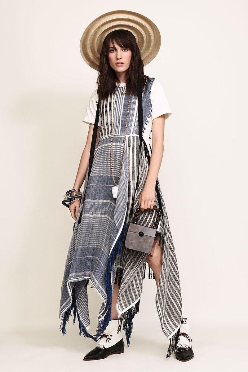 JW Anderson Striped Patchwork Handkerchief-Hem T-Shirt Dress