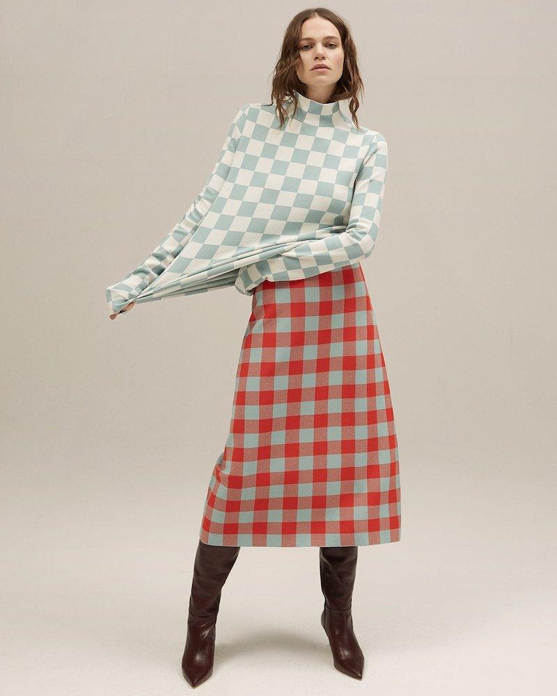 Jil Sander Checked Midi Skirt