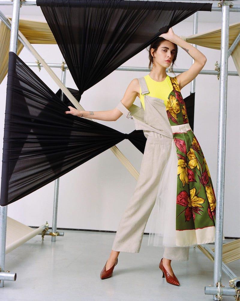 Junya Watanabe Comme des Garçons Mixed Print Satin and Linen Dungaree Dress