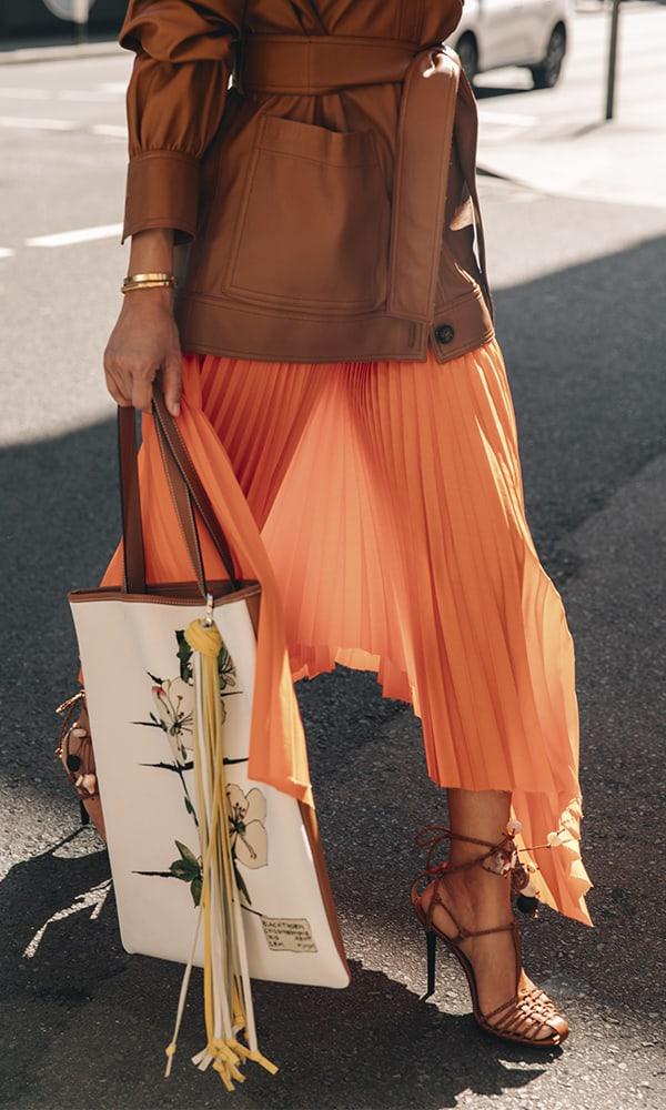 Loewe Asymmetric Leather-Trimmed Pleated Poplin Midi Skirt