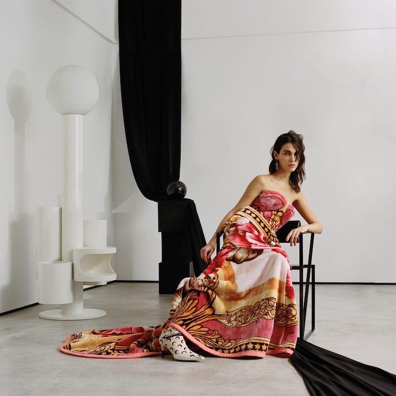 Marine Serre Sweetheart-Bodice Floral-Print Fleece Gown