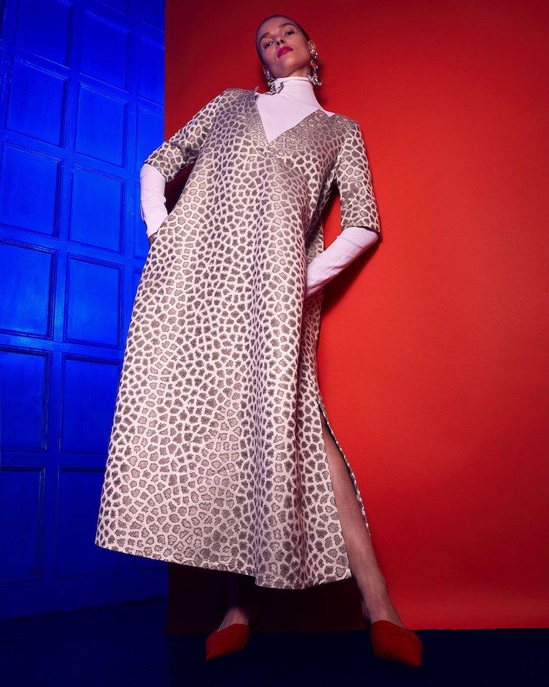 Marta Ferri Animal-Jacquard Midi Dress