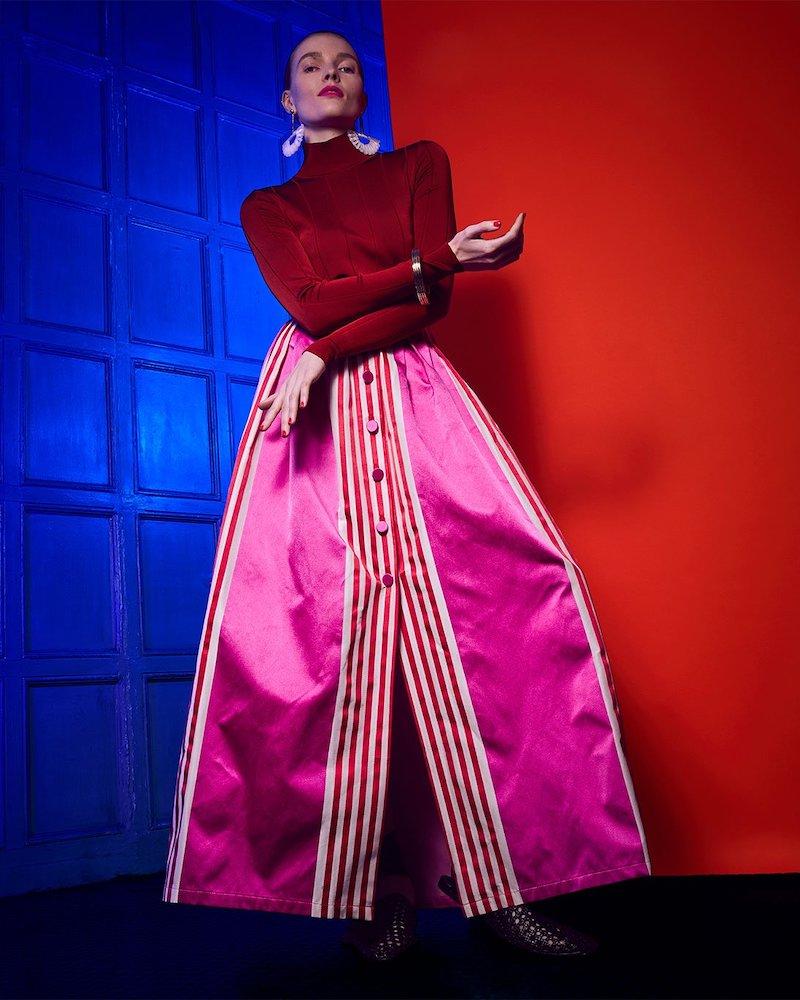 Marta Ferri High-Rise Striped Silk and Cotton-Blend Maxi Skirt