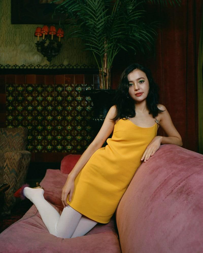 Miu Miu Yellow Crystal Star Strap Dress