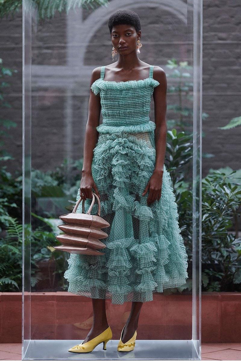 Molly Goddard Flo Gingham-Organza Ruffle Midi Dress
