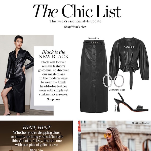 NET-A-PORTER The Chic List February 10, 2019