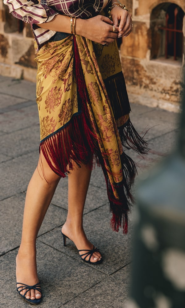 Oscar De La Renta Wrap-Effect Fringed Silk-Jacquard Mini Skirt