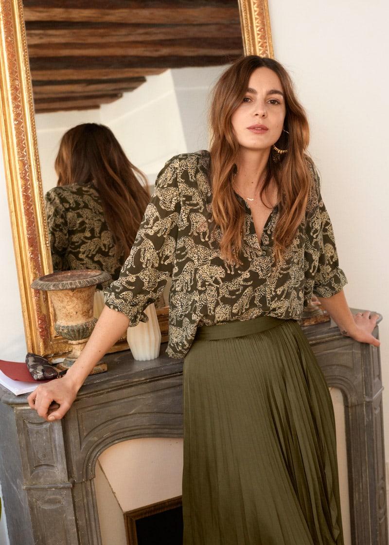 & Other Stories Leopard Print Silk Shirt