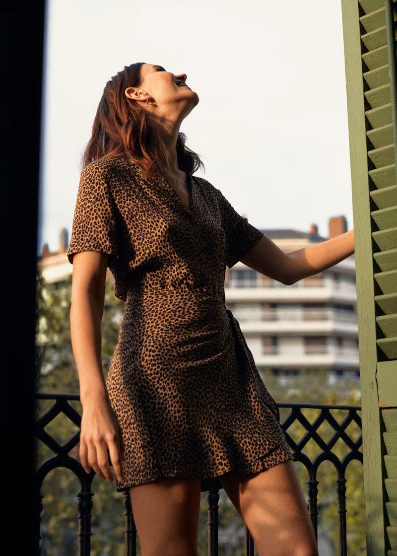 & Other Stories Side Tie Leopard Mini Dress
