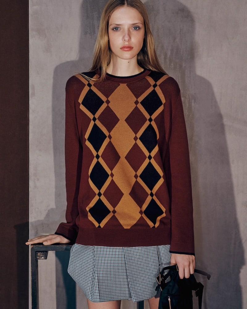 PLAN C Argyle Cotton Sweater
