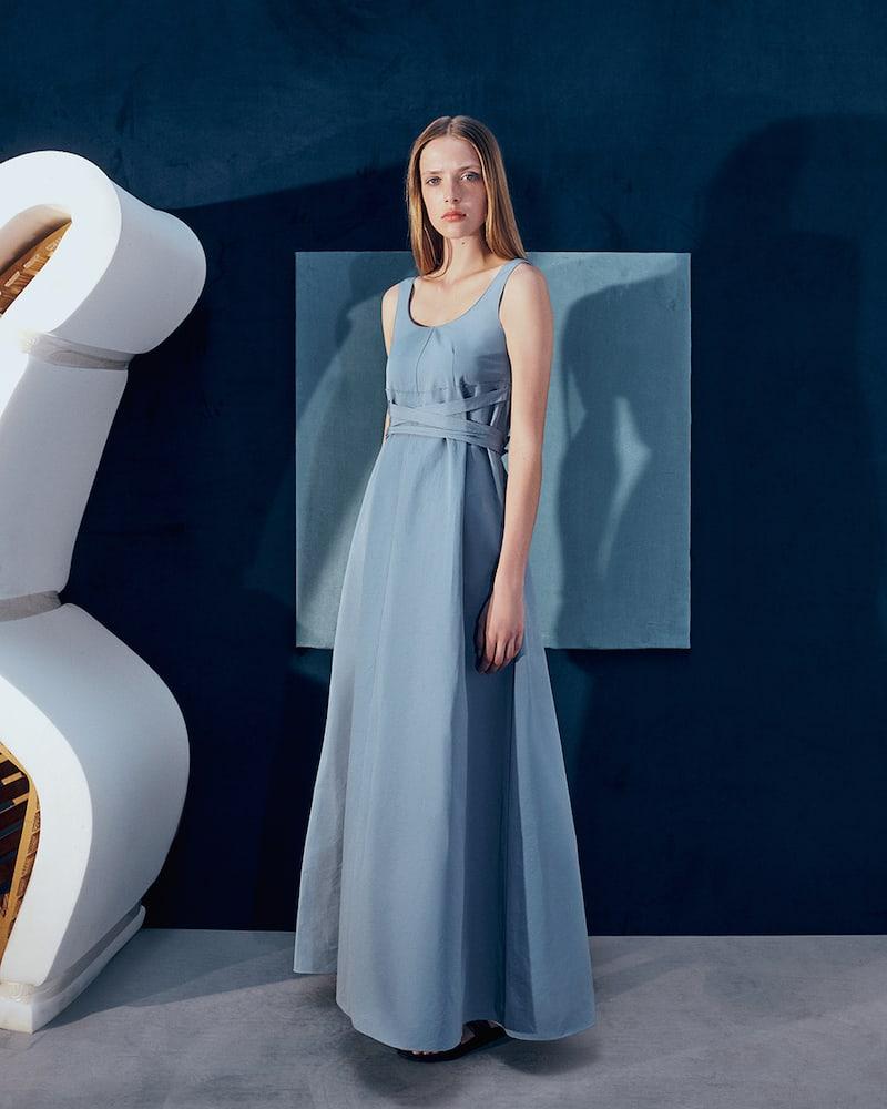 PLAN C Cotton-Blend Long A-Line Dress