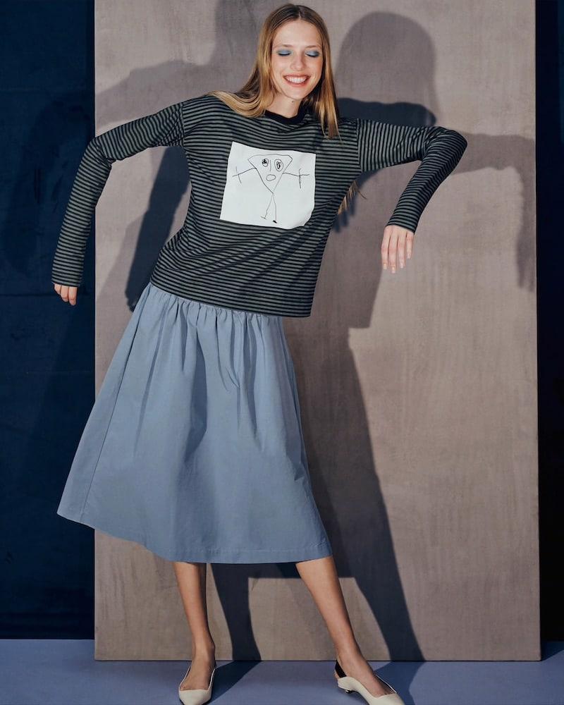 PLAN C Drawstring Cotton-Blend Full Skirt