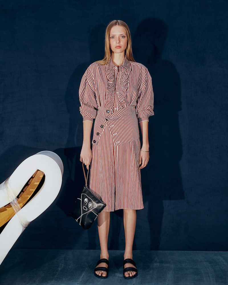 PLAN C Striped Twill Belted Shirtdress